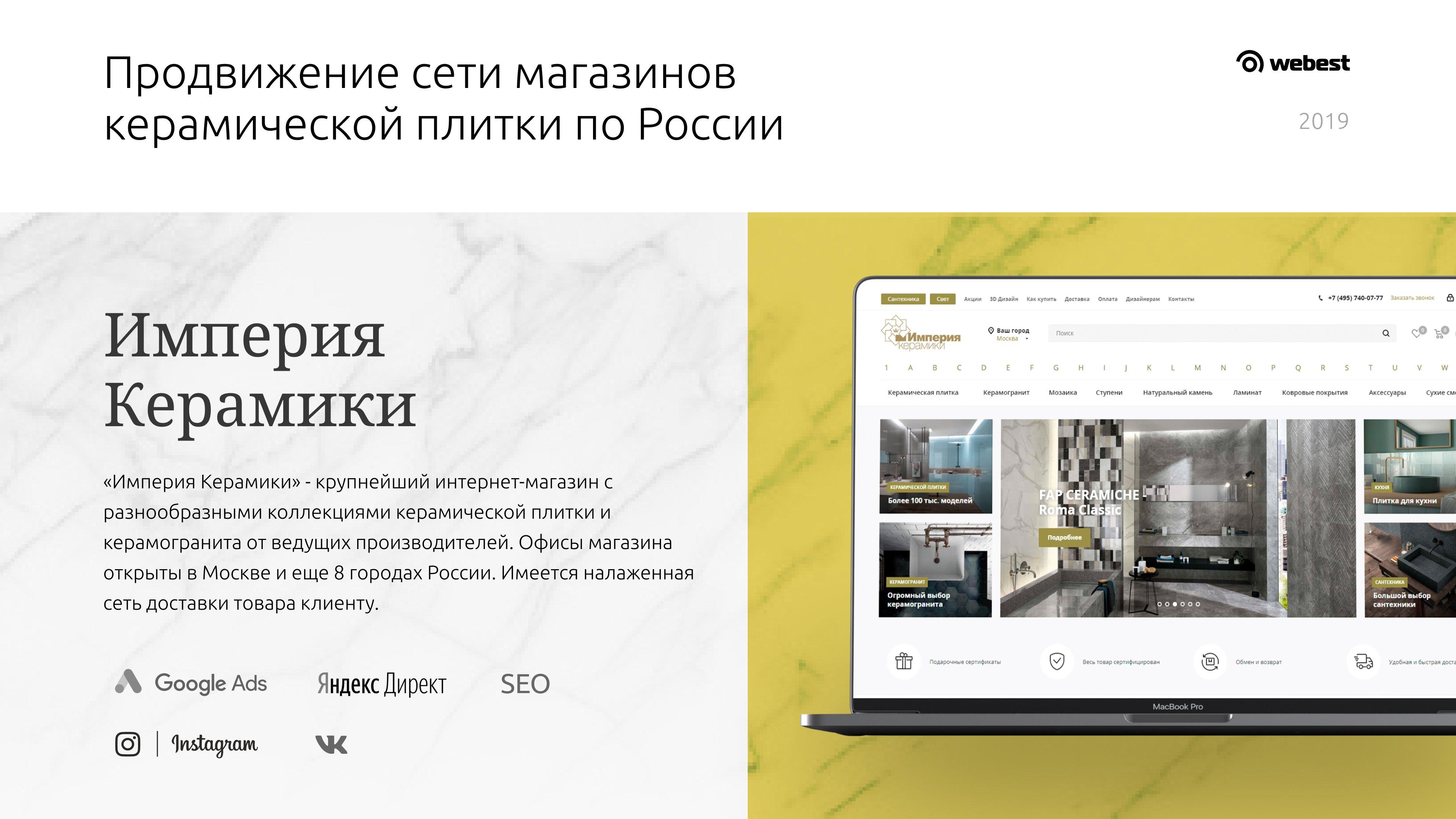 Комплексное продвижение интернет-магазина «Империя керамики»