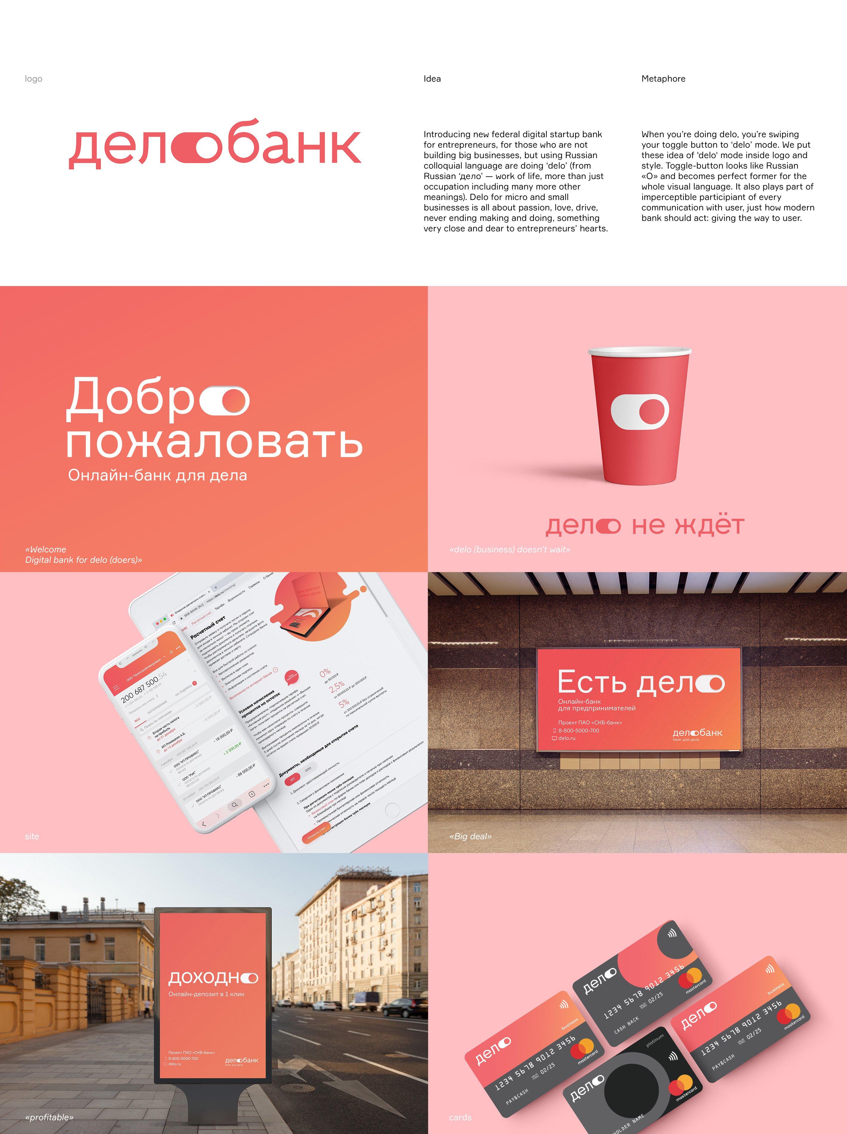 Создание позиционирования, названия и визуального стиля для нового онлайн-банка для предпринимателей «ДелоБанк